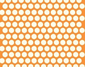 16.50 a Yard Organic COTTON Mod Basics 2 - Dottie Cream/Orange
