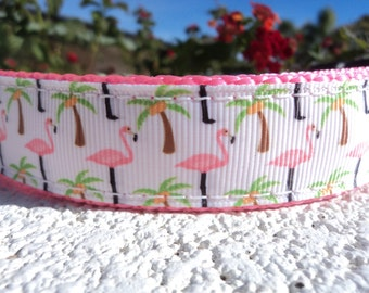 """Dog Collar 3/4"""" or 1"""" Quick Release Buckle Pink Flamingo & Palms - upgrade to Martingale - see details within for info"""
