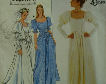 Medieval Gown Pattern, Lace-up Front, Open Square Neck, Mutton Sleeves, V-Shaped Waist, Full Skirt, Simplicity No. 8502 UNCUT Size 6 8 10