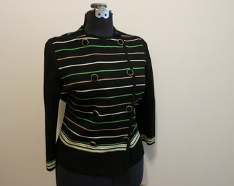 Striped top MOD Sweater Cardigan Carnaby Street black green white double breasted Zephyr wool silk XL