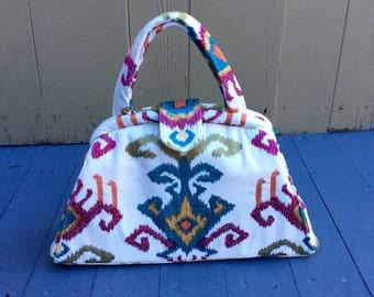 White Ikat Retro Handbag