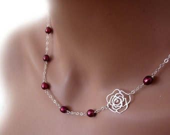 Sterling Silver Rose Pendant Freshwater Burgundy Pearls Romantic Adjustable Womens Jewelry Gift
