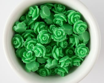 6 Piece Grass Green 10mm Cabochon Rosette Flowers DIY Earrings Bobby Pins