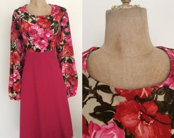 1970's Rose Print Top Babydoll Dress w/ Balloon Sleeves Size XL Large Plus Size by Maeberry Vintage