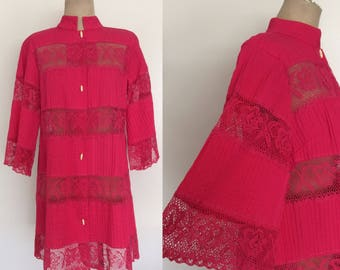 1970's Hot Pink Lace & Cotton Coverup Size Small Medium Large by Maeberry Vintage