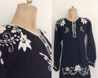 30% OFF 1970's Black Embroidered Cotton Top Size Small Medium by Maeberry Vintage