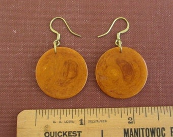 Butterscotch Bakelite Earrings - Pierced & Translucent w/ Solid Brass Hardware - Small Size