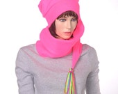 Long Stocking Cap Neon Pink 5 Foot Long Hat with Long Tassel Wrap Around Hat Scarf Hat