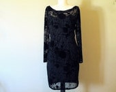Vintage Comrags, 90s Little Black Dress, Burnt Out Velvet LBD, Canadian Designer, Size 10/ Medium, Tailored Fit, Punk Goth Style, Classic