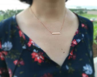 Rose Gold Bar Necklace,Initial Bar Necklace,Personalized Bar Necklace,Name and Date Bar Necklace,Personalized Graduation gift,Gift For Her
