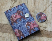 Notebook & mirror set - covered in Indian elephant print fabric. Removable cover