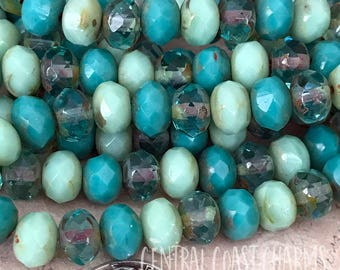 8mm x 6mm Czech Glass Picasso Bead Spacer Faceted Rondelle Rondell (10) Beachy Bohemian Turquoise Green Sea Glass Mix - Central Coast Charms
