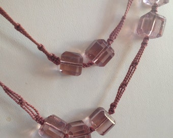 Sale Vintage Pale Purple Faceted Cube Glass and Crocheted Cording Necklace