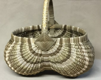 Oval Hand Woven Egg Basket, Brown and Natural, Braided Handle Wrap
