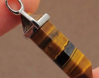 Tiger Eye Pendant, Crystal Pendant, Healing Pendant, Gemstone Pendant, Tiger Eye Point, Gift for Her, Natural Tiger Eye, Tiger eye Jewelry