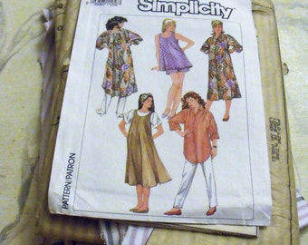 1996 Simplicity Pattern and Cut Fabric/ Large Pattern and Shirt/ Ready to Sew Shirt/Stripe orchid and White Cotton Fabric/ Shabbyfab Supply