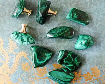 Stunning Custom Malachite Gemstone Drawer Pulls Knobs Brass Or Chrome Base