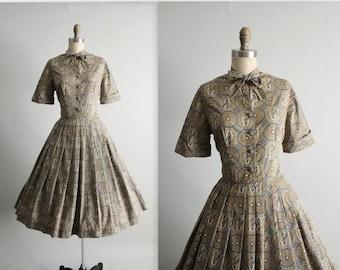 STOREWIDE SALE 50's Novelty Shirtwaist Dress // Vintage 1950's  Print Cotton Garden Party Dress M
