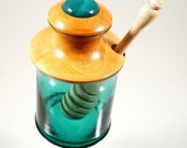 Honey pot with hardwood lid and dipper.