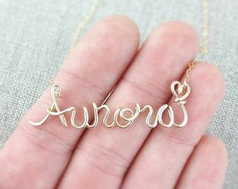 Disney Princess Custom Name Necklace, 14K Gold Fill, Disney Personalized Name, Disney Jewelry, Girls Name, Personalized Disney Princess Gift