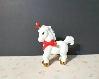 Vintage Enesco Unicorn Valentines Day Heart