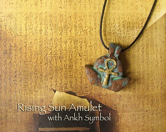 Rising Sun Amulet with Ankh Symbol - Amulet of Protection, Life and Resurrection - Handcrafted Clay Pendant with Bronze Patina Finish