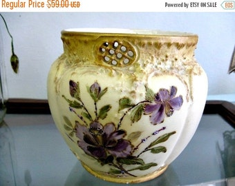 Antique Victorian Vase - Purple Flowers Hand Painted Floral Pot
