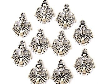 10 Angel with cross charms, antiqued silver, 22mm x 17mm, religious angel charms, Christianity symbol pendant