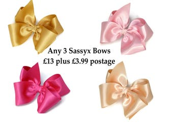 "Pink Hair Bow 5"" Set Of 3 You Choose Pink Blue Satin Purple Hair Accessory Ivory Gold Flower Girl Sassyx Bow Seriously Sassyx"