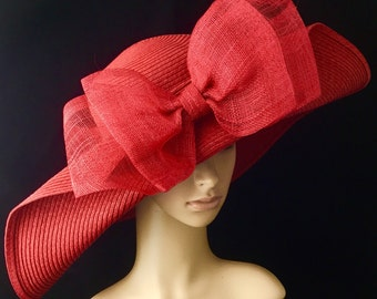 Red Kentucky Derby Hat with big Sinamay Bow,Derby Hat,Dress Hat Wedding Hat Wide Brim Hat Tea Party Hat Ascot