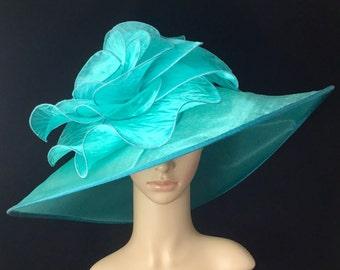 Turquoise Kentucky DerbyHat,Derby Hat,Church Dress Hat ,Bridal Wedding Hat,Tea Party Hat Ascot