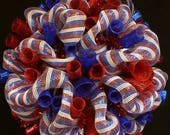 12% OFF Memorial Day Wreaths, Labor Day, RWB Patriotic Wreaths, Veterans Day, Poly Mesh Wreath, Deco Mesh (1118)