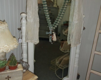SALE: Mirror, Tall, Dressing, Cheval, White, Wood Frame, Cottage Decor, Bedroom