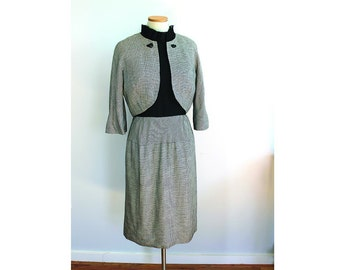 1950s Houndstooth Dress Suit // Andrew Arkin Petites // small