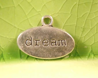 10 silver dream word charms pendants fairytale Once upon a time literary mystical oval 19mm x 14mm- C0322-10