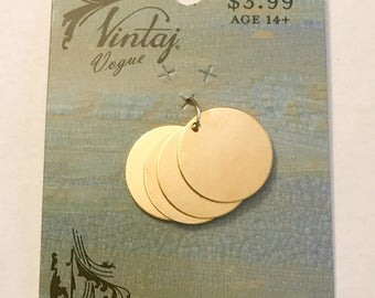Vintaj Vogue 16mm Round Brass Blanks with Hole Bright Gold Brass Blanks Round Circle Tags Charms Metal Stamping Embossing Etching Qty 4