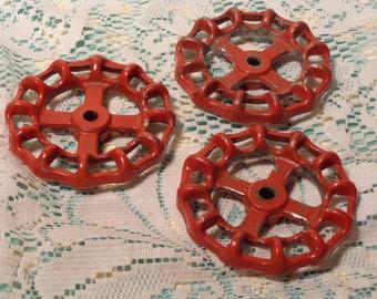 Vintage Large Red Valve Handles - Garden Valve Handles - Set of Three (3)  -  17-320