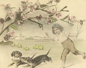Antique French Easter Postcard Joyeuses Paques Playful Dachshunds Run Off With Basket of Eggs Spring Chicks and Young Boy Give Chase 1908