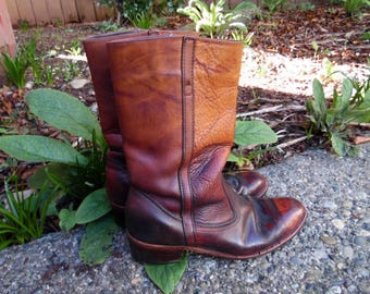 70s Brown Oxblood Leather Ombre Dexter Western Motorcycle Riding Hippie Boots Mens 10 11