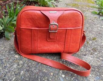 Vintage Toasted Orange Samsonite Vinyl Shoulder Bag Carry On Messenger Laptop Bag