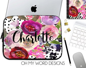 Personalized Laptop Sleeve-Water Color Flowers-Laptop Sleeve-Laptop Sleeve-Neoprene Laptop Sleeve-Laptop Cover-Computer Sleeve
