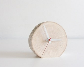 white birch wooden clock - modern rustic clock, desk clock, table clock, small clock