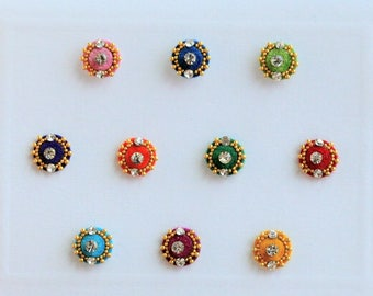 Round Studded Bindi Indian Dots Bollywood Body Art Wedding & Bridal