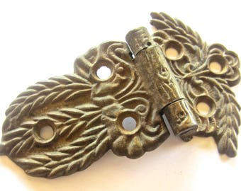 Antique Cast Brass Leafy Ornate Ice Box Hinge wtih Dusty Caramel Patina