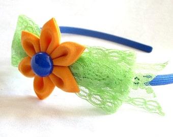 Cute Lace Bow Headband with Kanzashi Flower Orange Mint Blue