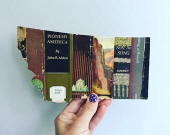 Vintage Book Spine Wall Hanging - Handmade with vintage book dust jacket spines - Montana - ready to ship !