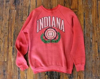 Indiana Sweatshirt • 80s Sweatshirt • Oversized Sweatshirt • Soft Sweatshirt • Crewneck Sweatshirt • Red Slouchy Sweatshirt  | T649