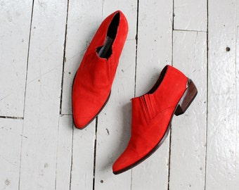 Western Booties 7 1/2 • Red Ankle Boots • Red Suede Boots • Red Booties • 80s Boots • Leather Ankle Boots • Leather Booties  | SH343