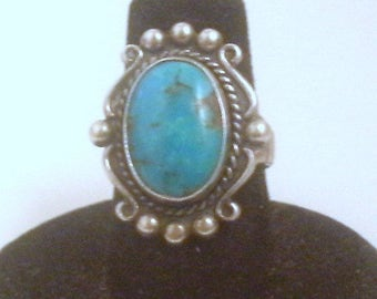 Vintage Sterling Turquoise Ring, Size 6 1/2, Native American Jewelry