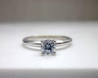 Estate .35 Carat Diamond Solitaire Engagement Ring Set in 14k Solid White Gold, Size 7